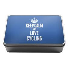 BLUE Keep Calm and Love Cycling Metal Storage Tin Box 1730
