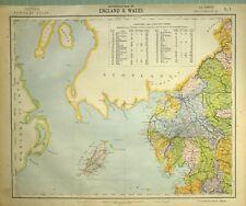 1881 LETTS MAP ENGLAND & WALES ISLE OF MAN WESTMORLAND CUMBERLAND LANCASTER