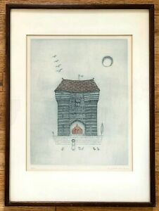 Vintage KEIKO MINAMI Intaglio Etching Signed and Numbered #16/50 Girl + Castle
