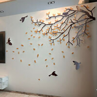 3D Acrylic Tree Wall Stickers Waterproof Decals Mural Room Background Decoration