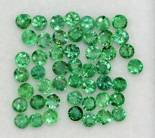 Natural Emerald Round Cut 2 mm Lot 22 Pcs 0.87 Cts Rich Green Loose Gemstones