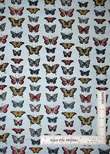 Butterfly Butterflies Monarch Blue Cotton Fabric Makower Vintage Journal  - Yard