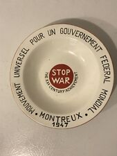 RARE NIMY MANUFACTURE IMPERIALE BELGIUM BOWL 1947 MONTREUX STOP WAR