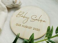 BABY PREGNANCY ANNOUNCEMENT WOODEN SIGN, LASER ENGRAVED PERSONALISED PLAQUE, NP5
