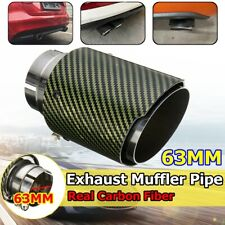 63MM Universal Real Glossy Carbon Fiber Green Exhaust Muffler Tip End Tail Pipe