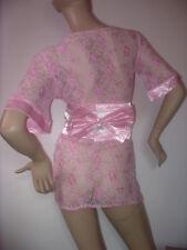 Kimono déshabillé peignoir en dentelle rose + ceinture satinée !