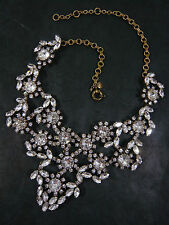 "NEW J. CREW CZECH CRYSTAL FLORAL STATEMENT BIB NECKLACE 16""-19"" x 3"" Retail $198"