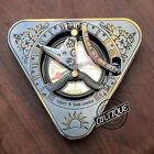 "Vintage 4"" Lite Compass w/ Sundiel Vintage Enraved Desk Decor Working Compa"