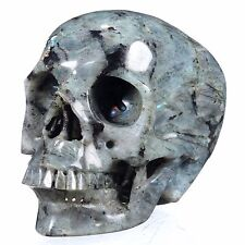 "5.94"" Natural Labradorite Carved Smiling Skull,Collectibles 22Q91"