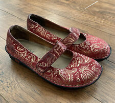 Alegria Belle Size 37 Mary Jane Women's Shoes Floral Paisley Clogs Slip On Wedge