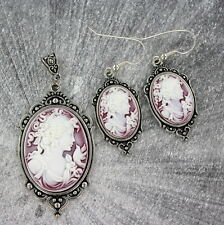 VINTAGE STYLE  CAMEO PENDANT, NECKLACE AND EARRING SET