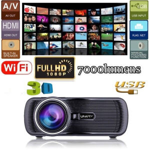 Android 1080P Full HD Multimedia LED Projector Home Theater Cinema Wifi VGA USB