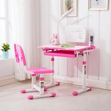 pink adjustable study desk chair set child kids table wdesk lamp