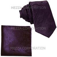 """New Vesuvio Napoli Men's 2.5"""" skinny necktie & hankie set paisley dark purple"""