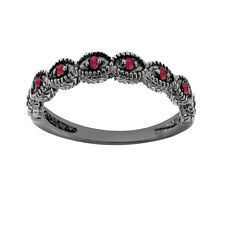 Red Ruby Wedding Band Wedding Ring 14K Black Gold Vintage Antique Style 0.10 ct