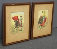 Pair Vintage Spanish Bullfighters Watercolor Signed Paintings Picture by J. Reus