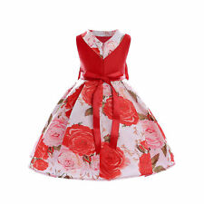 Girl Printing Dress Bow Children's Clothing Princess Skirt for Birthday Party