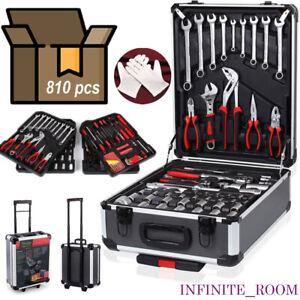 810Pcs Tool Set Case Mechanics Kit Box Organize Castors Toolbox Trolley UK