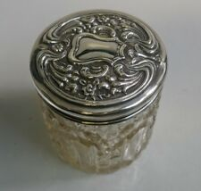Antique 1912 Birmingham's William Davenport Sterling & Crystal Tall Dresser Jar