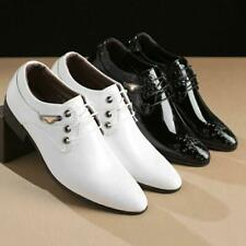 Men's Business Leather Shoes Pointy Toe Lace Up Carved Formal Wedding Shoes