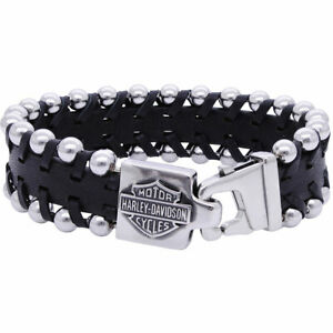 New Harley-Davidson® Mens Stainless Steel B&S Steel Beads & Leather Bracelet