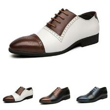 Mens Dress Formal Leather Shoes Pointy Toe Carved Brogue Lace up Business Party