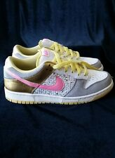 Women's Nike Dunk Athletic Shoes 314141-162 Pink Ylw/Gray/Gold Metallic, Size 8