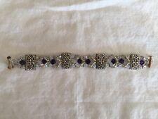 """Women's Silver Clear & Purple Beaded Bracelet 6.25"""""""