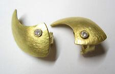 Ohrringe große Ohrstecker mit Omegaclip in Gold 750 mit Brillant 0,17 ct