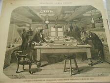 Gravure 1865 - La cabine laboratoire du Challenger Navire expolre fond des mers