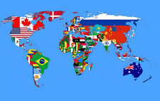 "World Map with Flags of all Nations Abstract Art CANVAS PRINT 16""X12"""