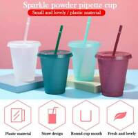 Plastic Reusable Drinking Cup Water Bottle With Straws Straw Cup Flash Powder