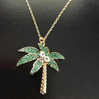 🌴 Gorgeous Gold Palm Tree Pave Crystal Pendant Necklace  Designer Inspired