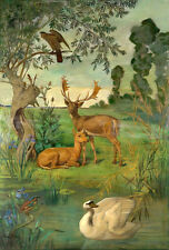 Stunning oil painting wild animals deer Stag and doe & swan birds Hand painted