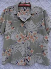 Tommy Bahama Blouse Misses L Ivory Green Orange Purple Asian Floral Rayon MINT