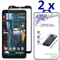 2-Pack For Google Pixel 2 XL Full Cover Tempered Glass Screen Protector -Black