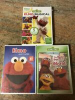 NEW / Factory sealed : LOT of (3) PBS' Sesame Street Elmo DVDs w/ Free Ship