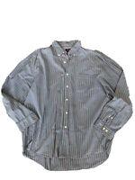 G.H. Bass & Co Mens Blue White Black Striped Co. Button Front Down Shirt XL