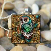 Owl Beautiful Photo Cabochon Glass Tibet Silver Chain Pendant Necklace Gift