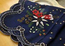 "Chic Deep Blue Embroidered Cotton Square Christmas Tablecloth 50""/128cm SALE"