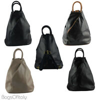 Giglio Italian Soft Leather Rucksack Backpack Shoulder Handbag Made In Italy