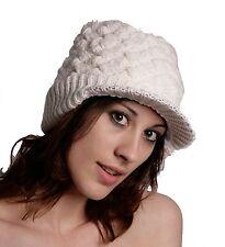 bianco maglia Cappuccio di lana con fodera in pile