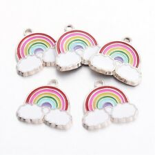 5 x Silver Plated Rainbow Cloud Enamel  Pendant Charms