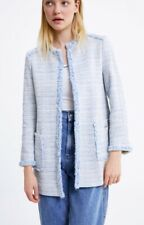 Zara Tweed Long Blazer Coat Jacket Size XS Sokd Out Nloggers BNWT