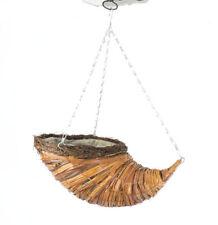 "Garden Decorative Wicker Woodland 10"" Horn Hanging Basket Planter"