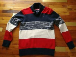 Tommy Hilfiger 1/4 button Color Block Sweater Boy's Size Medium (12-14)