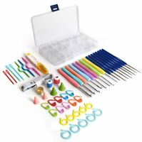 52 Pieces Multi Colour Crochet Hooks Set Knitting Soft Grip Sewing Needle Tool
