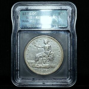 1875-CC $1 TRADE DOLLAR ✪ ICG AU ALMOST UNC DETAILS ✪ CARSON CITY T$1 ◢TRUSTED◣