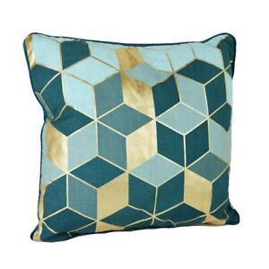 Geometric Gold Emerald Green Velvet Cushion Feather Filled Heavy Weigh Pillow