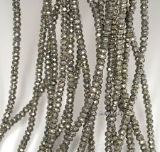 """4X3MM IRON PYRITE  GEMSTONE GRADE AA FACETED RONDELLE 4X3MM LOOSE BEADS 15.5"""""""